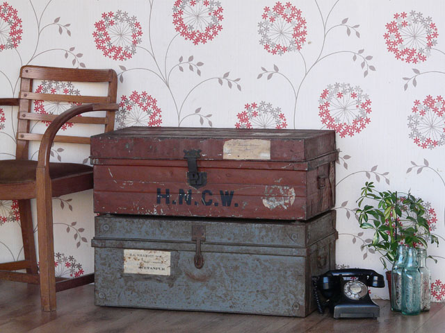 Vintage metal trunks and chests.