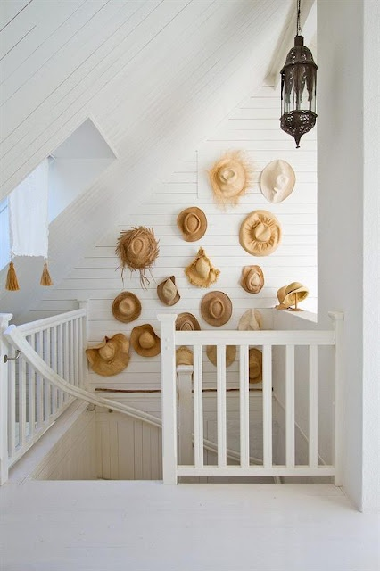 Hat display in hallway