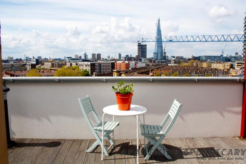 Roof terrace with views of Shard