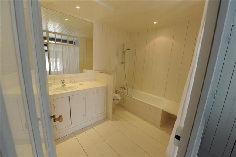 wood clad french chateau bathroom
