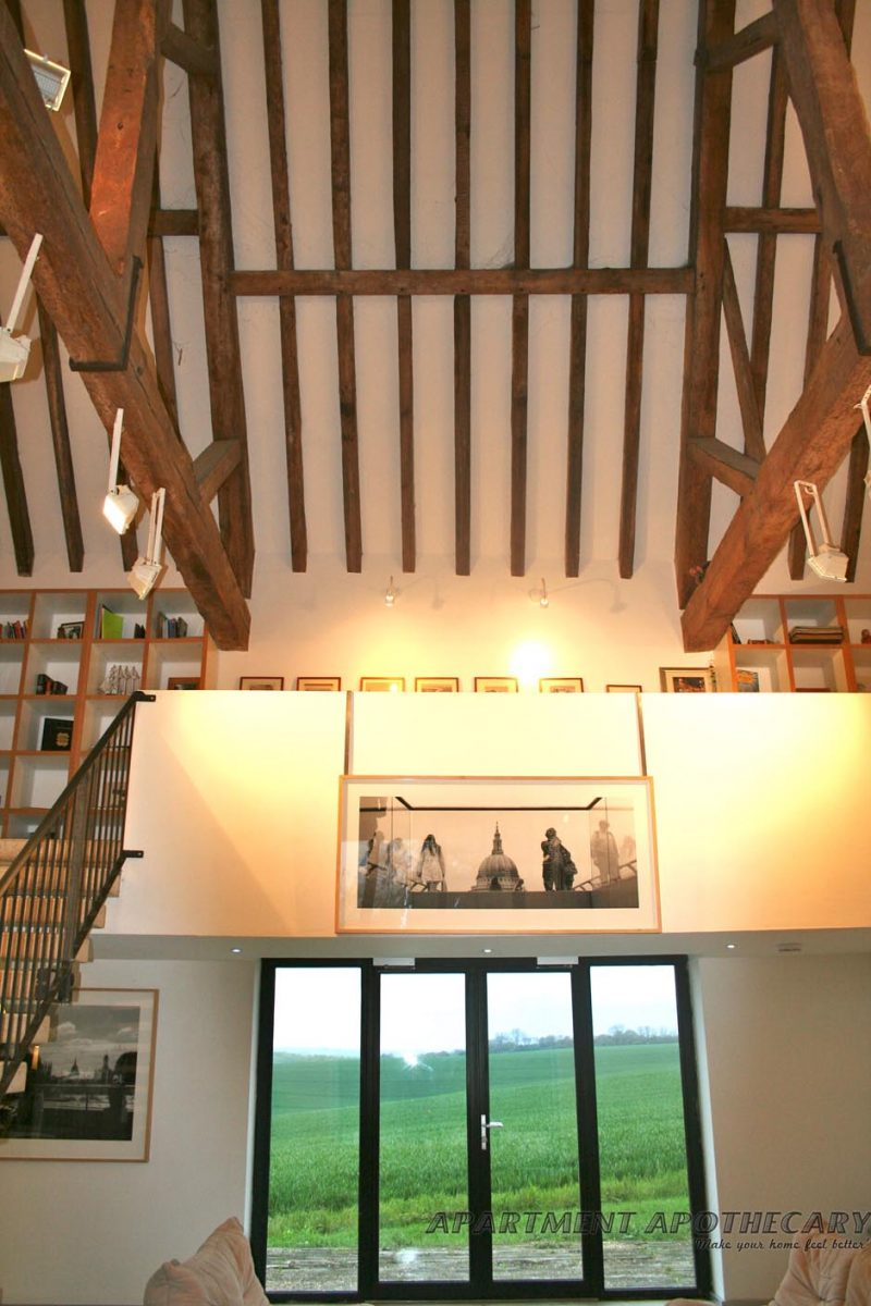 Vaulted ceiling with beams