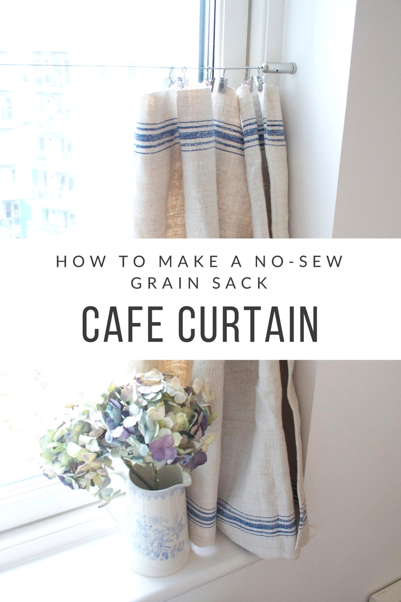 How to make a no-sew grain sack cafe curtain | Quick and easy DIY project | No sew curtain | What to do with a grain sack | Apartment Apothecary