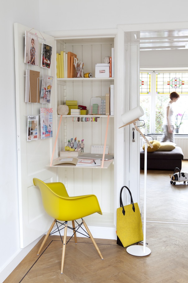 Small home office in a cupboard