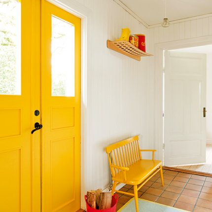 Painted yellow front door