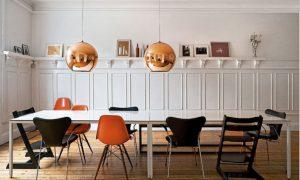 Sixties lamps in traditional dining room