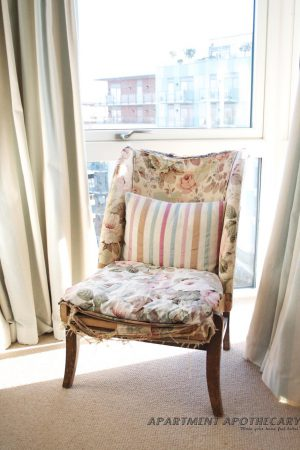 Antique nursing chair covered in Chelsea Sanderson fabric