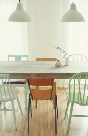 Painted eclectic dining chairs