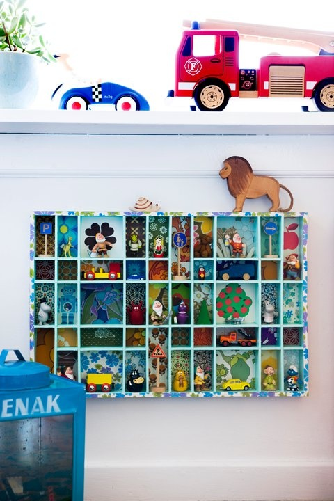 Letter press drawers used to store children's toys