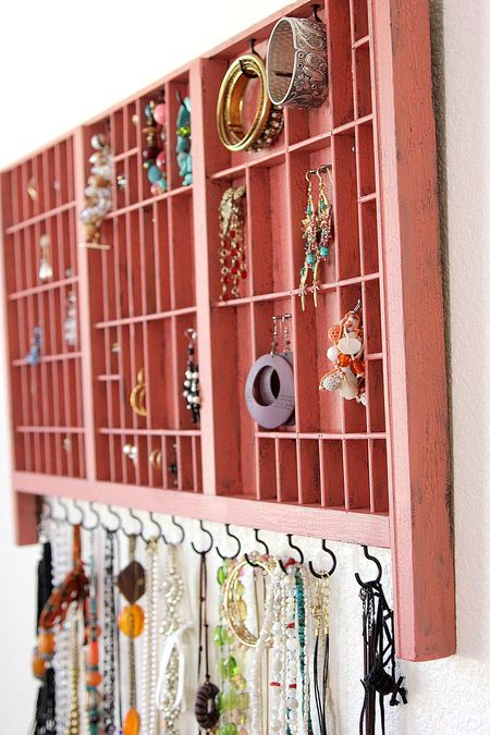 Letter press drawers used as jewellery storage