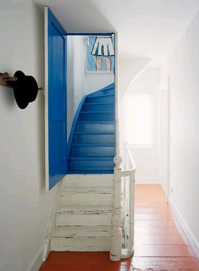 Painted blue stair case