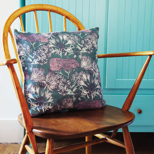 Abigail Borg floral cushions and Ercol chair