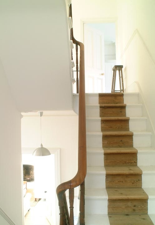 Natural wood stair runner