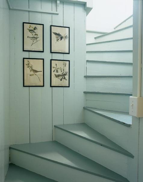 Painted duck egg staircase