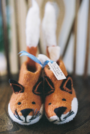 Vintage baby shower fox booties