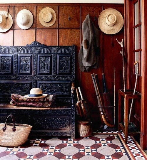 Victorian wood panelled tiled hallway