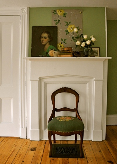 Pretty mantle piece and period fire place