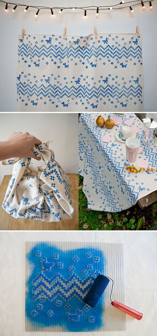Hand printing on fabric by Karen Barbe.