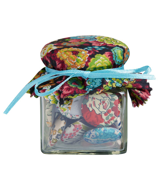 Floral button jar from the Liberty haberdashery - a crafter's perfect stocking www.apartmentapothecary.com