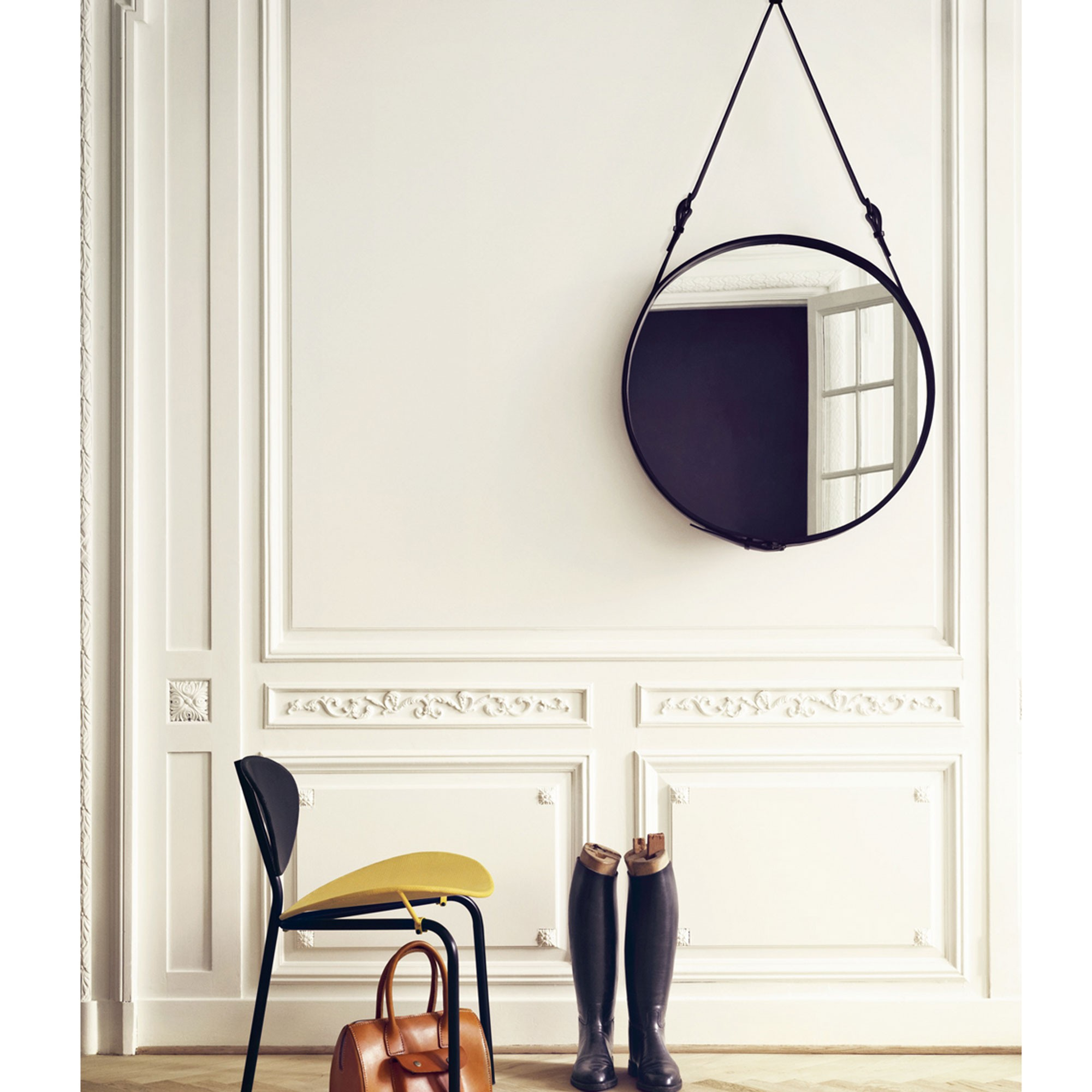 Leather framed mirror from Skandium www.apartmentapothecary.com