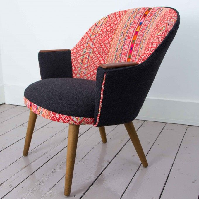 Danish chair covered in Peruvian textilefrom A Rum Fellow www.apartmentapothecary.com