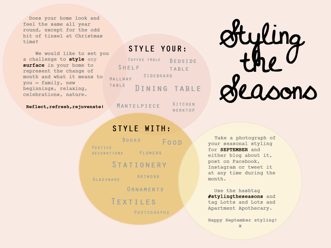 Styling the Seasons monthly blog series on Apartment Apothecary and Lotts and Lots