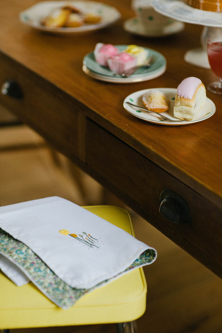 Liberty print embroidered napkins | Vintage tea | Photograph by Katharine Peachey | Apartment Apothecary