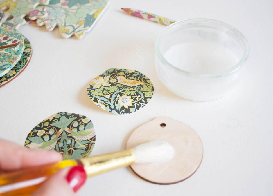 Liberty print baubles   Decoupage wooden cut outs to make tree baubles   Apartment Apothecary