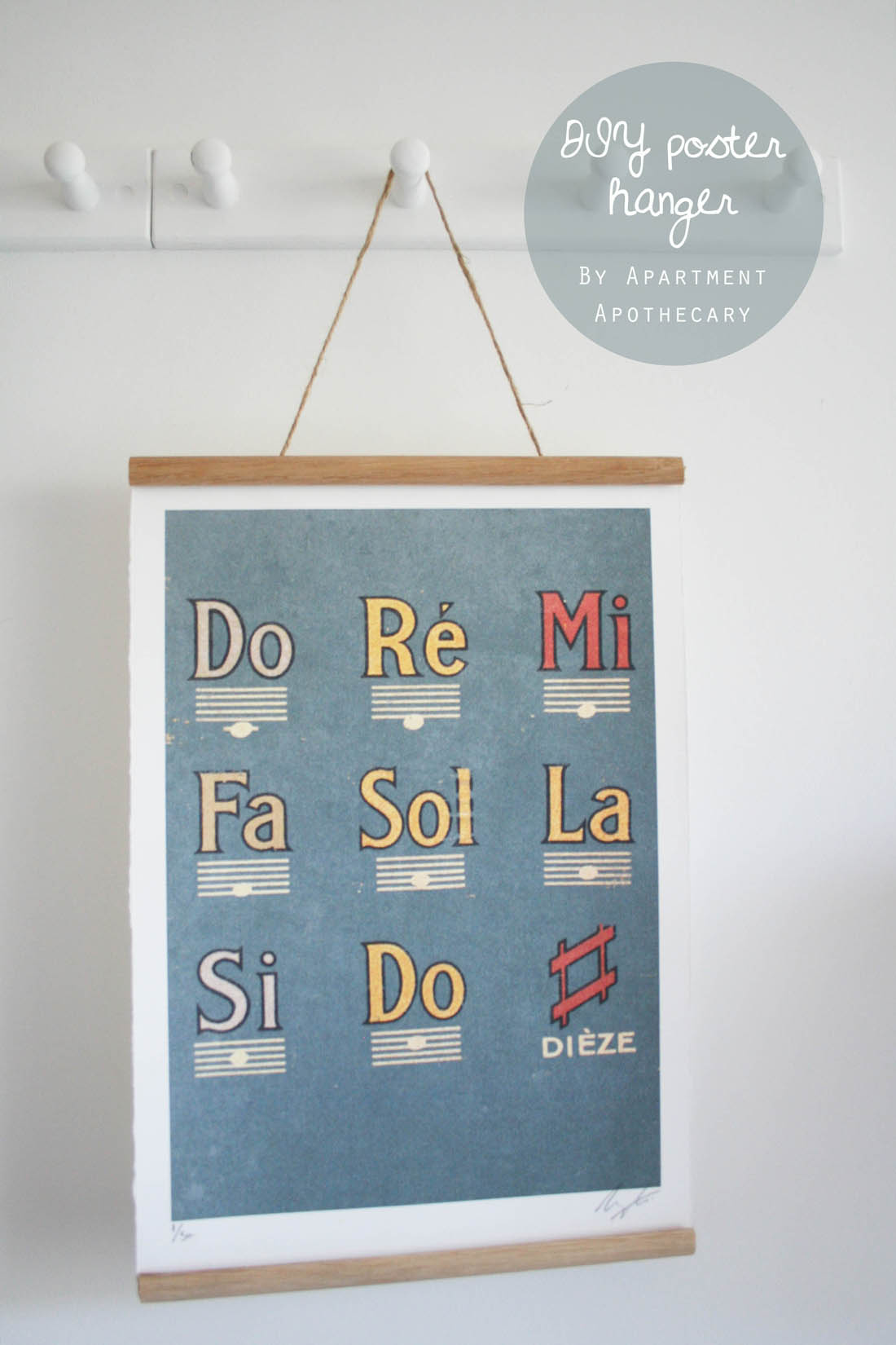 How to make a DIY poster hanger   Cheap and easy ways to hang art   Vintage style school wall chart   Apartment Apothecary