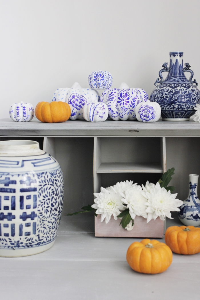 Styling the Seasons October review   ling young b   blue and white chinoiserie pumpkins