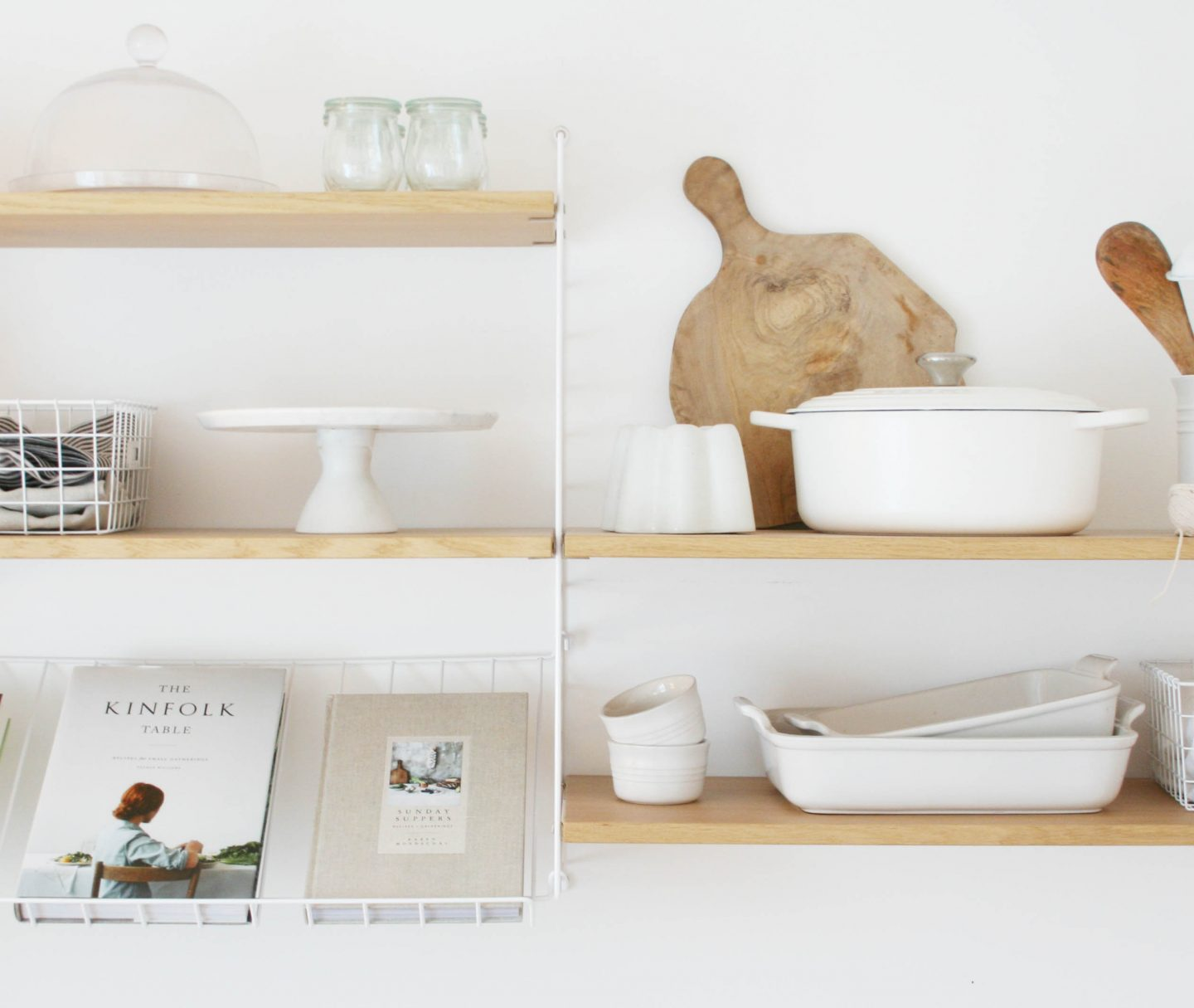 Cotton white Le Creuset | Styling neutrals in your home | Styling String Shelving | Apartment Apothecary