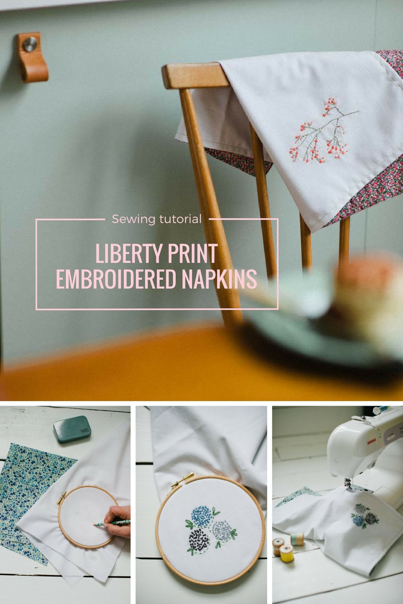 How to make embroidered napkins | Vintage style Liberty print napkins tutorial | Quick and easy sewing project | Apartment Apothecary