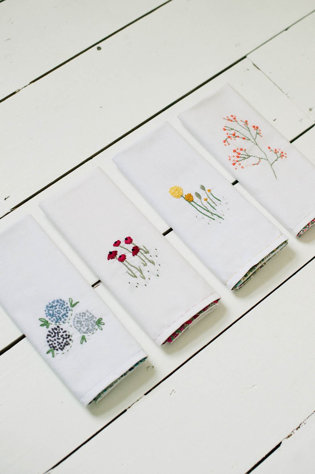Embroidered napkin tutorial | Liberty print napkins | Sewing tutorial | Photos by KatharinePeachey.co.uk