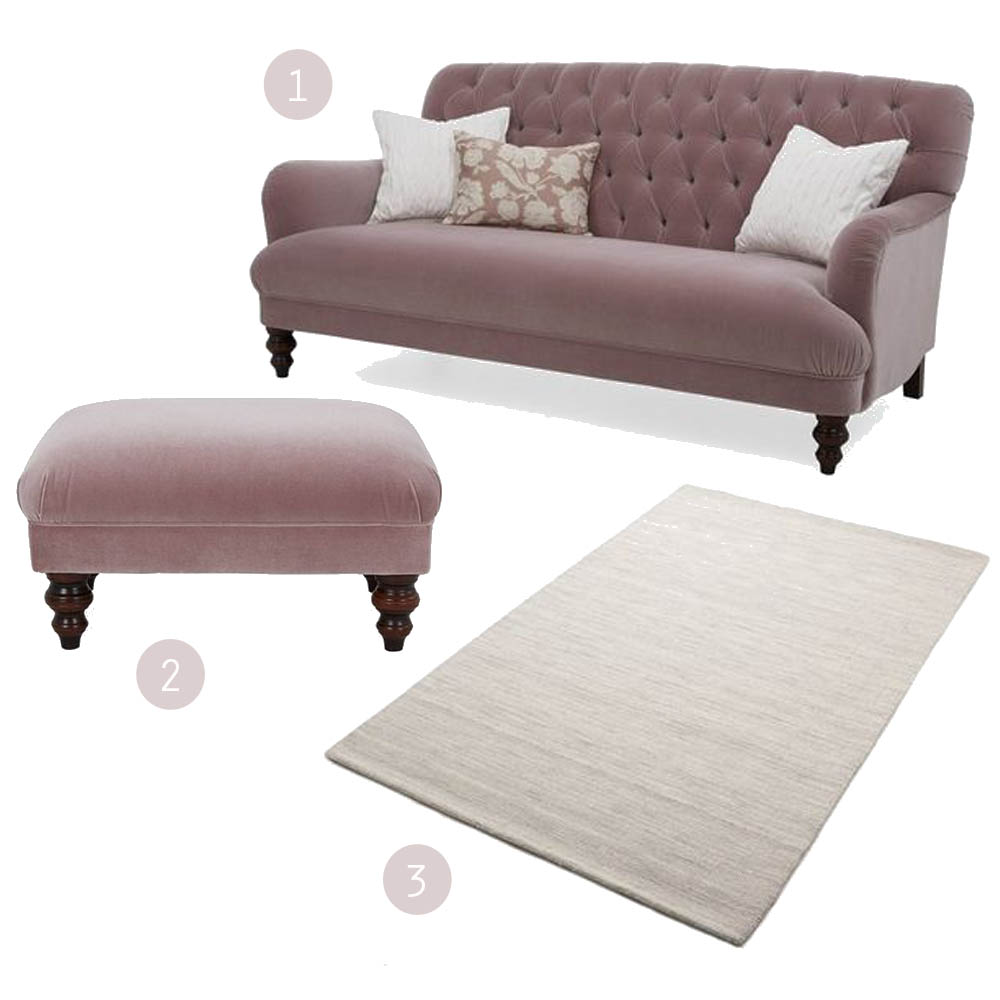 Pink velvet Bailey sofa from DFS | Win a living room makeover | Apartment Apothecary
