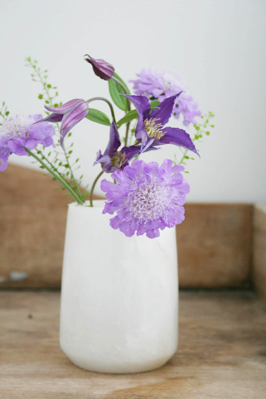 Dwell alabaster pot | Clematis and Scabius | Bedside table | Bedroom interior | Apartment Apothecary