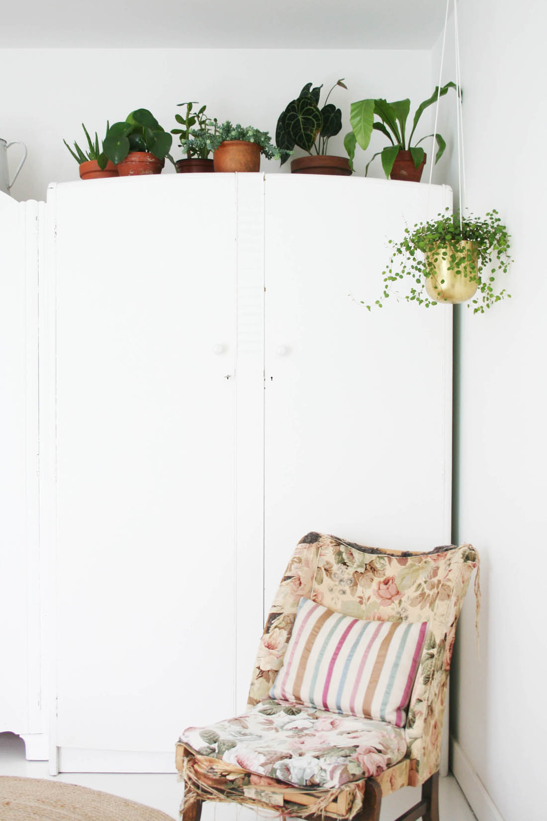 Styling the Seasons - June | Apartment Apothecary | Plants in the bedroom | Wardrobe plants  | Antique nursing chair