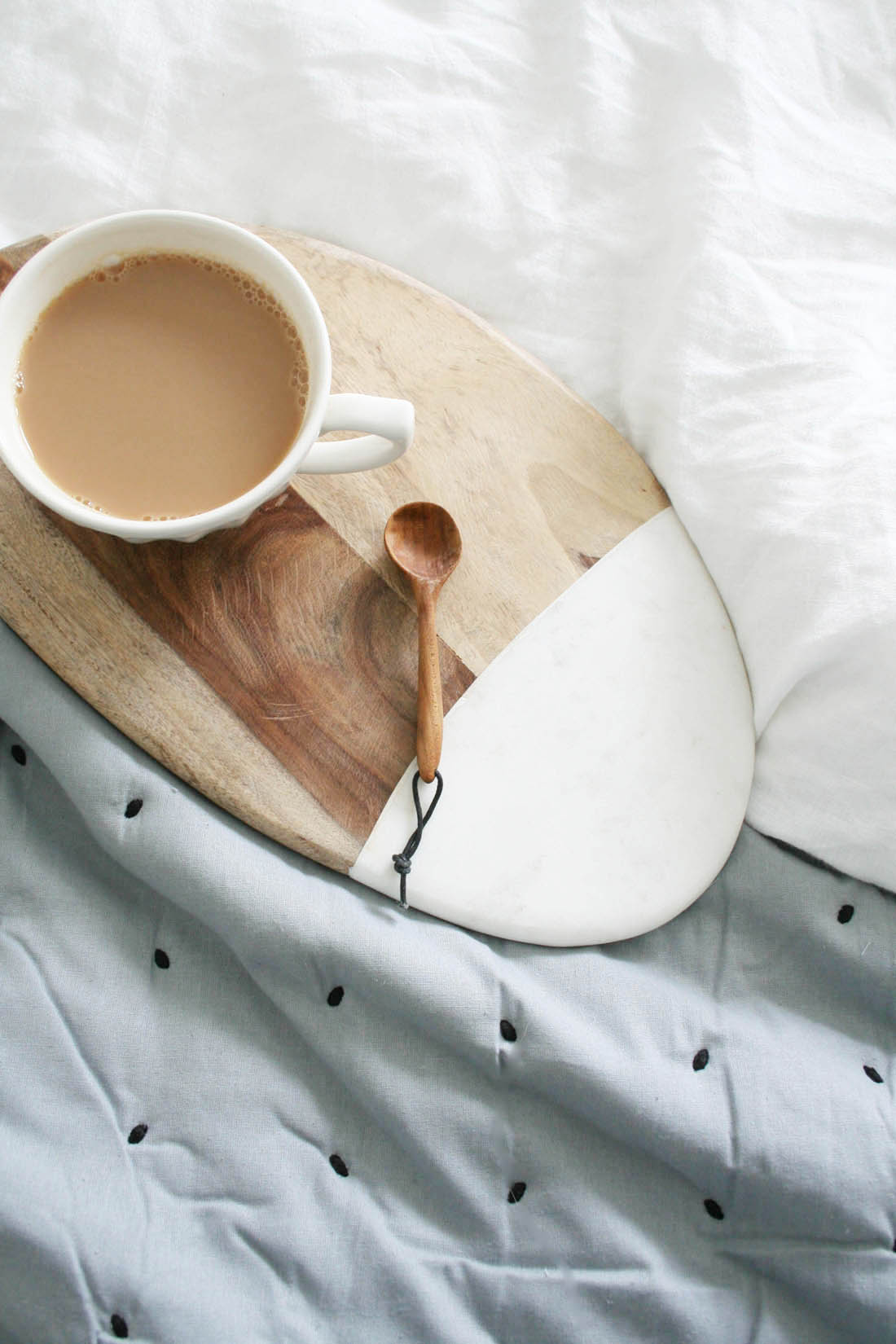 Dwell marble and wood serving board | Bedroom interior | Tea in bed | Apartment Apothecary
