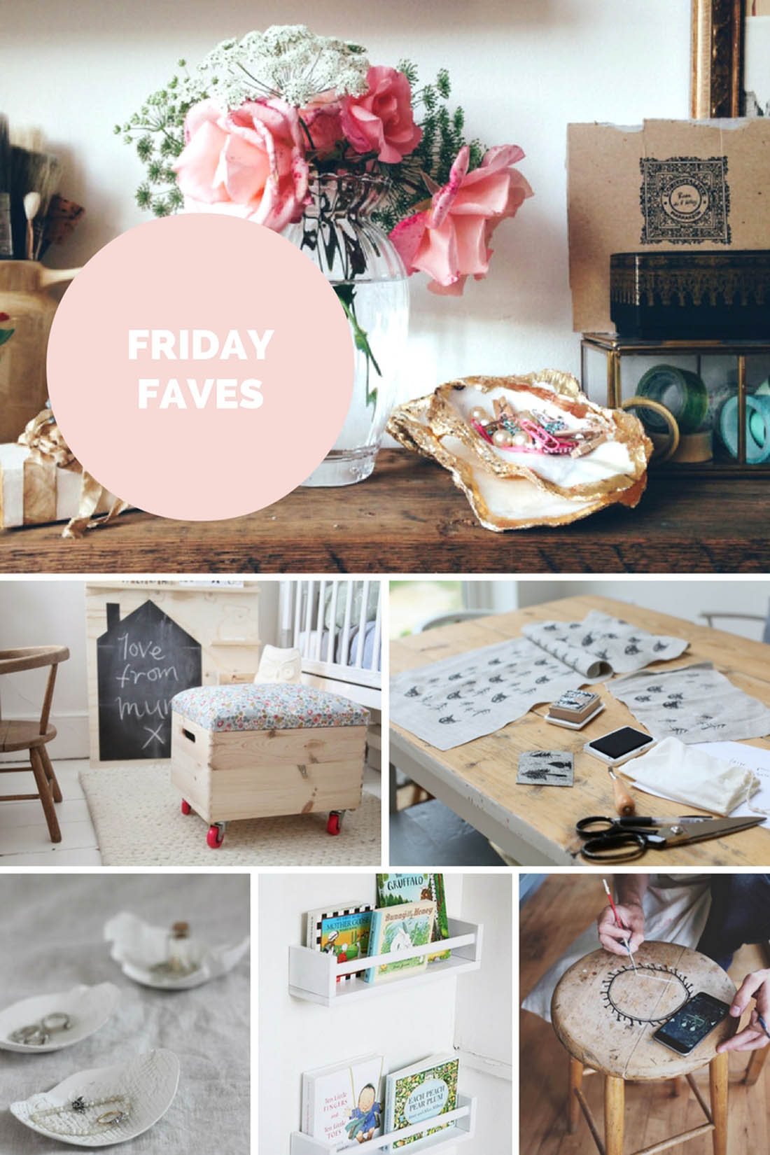 Six DIY craft projects to try including hand printing fabric, air dry clay bowls, using Ikea spice racks as book shelves, waiting furniture with folk designs and making a toy box | Apartment Apothecary