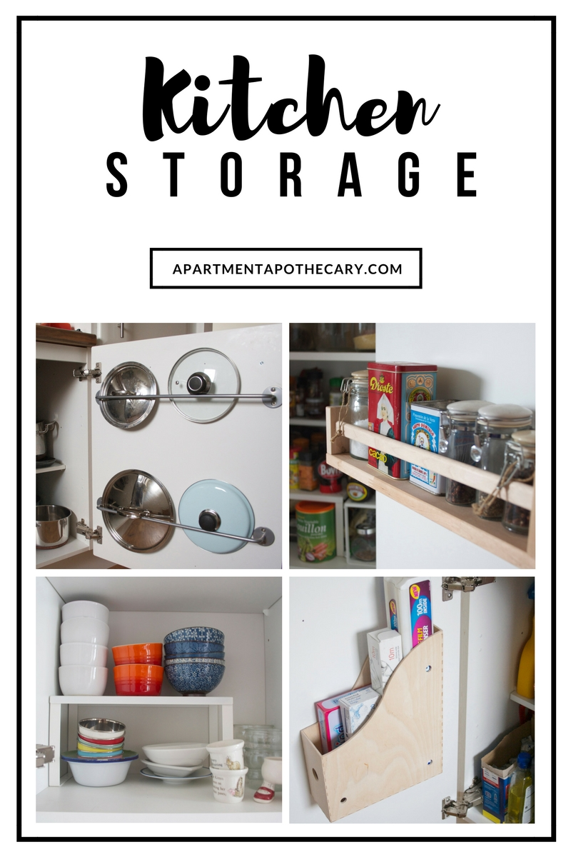 Kitchen storage solutions using the inside of kitchen cupboard doors | Ikea hacks for the kitchen | Clever storage solutions for small kitchens | Apartment Apothecary
