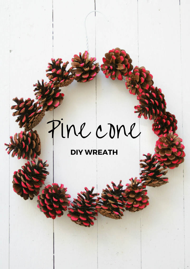 DIY pine cone wreath | Neon pink Christmas decorations | Apartment Apothecary