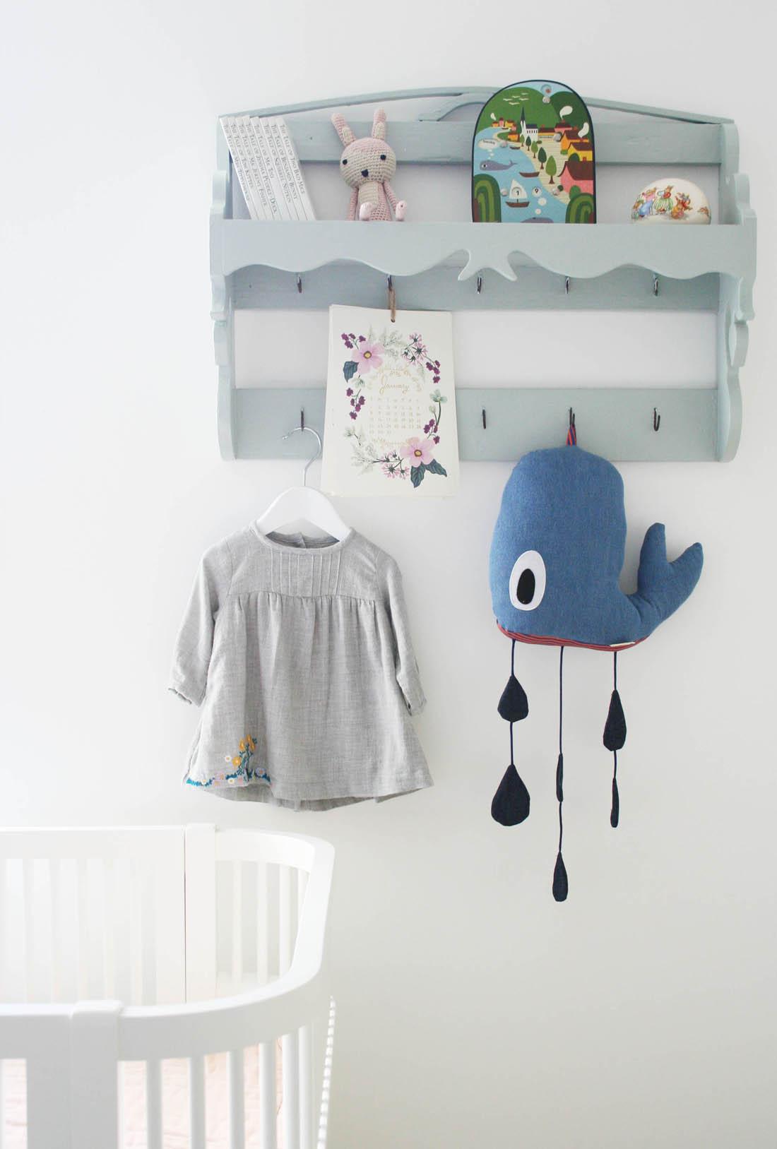 Nursery tour | Ferm Living whale mobile | Vintage shelf unit | Apartment Apothecary