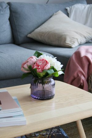 Faux flowers on ercol coffee table | Tesco Fox and Ivy collection